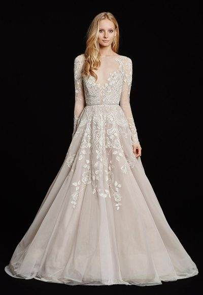 Long Sleeve Illusion Bateau Neckline Beaded And Embroidered A-line Wedding Dress by Hayley Paige