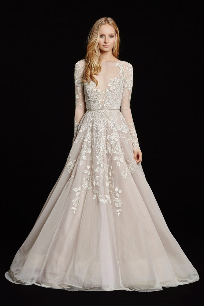 Long Sleeve Illusion Bateau Neckline Beaded And Embroidered A-line Wedding Dress by Hayley Paige - Image 1