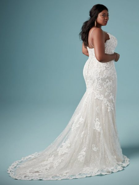 Lace Sheath Spaghetti Strap Wedding Dress by Maggie Sottero - Image 2