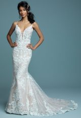 Lace Sheath Spaghetti Strap Wedding Dress by Maggie Sottero - Image 1