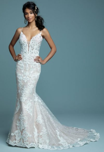 Lace Sheath Spaghetti Strap Wedding Dress by Maggie Sottero