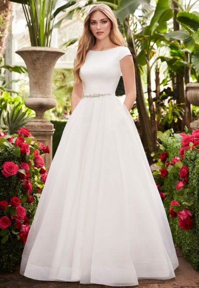Cap Sleeve Ball Gown Wedding Dress by Mikaella