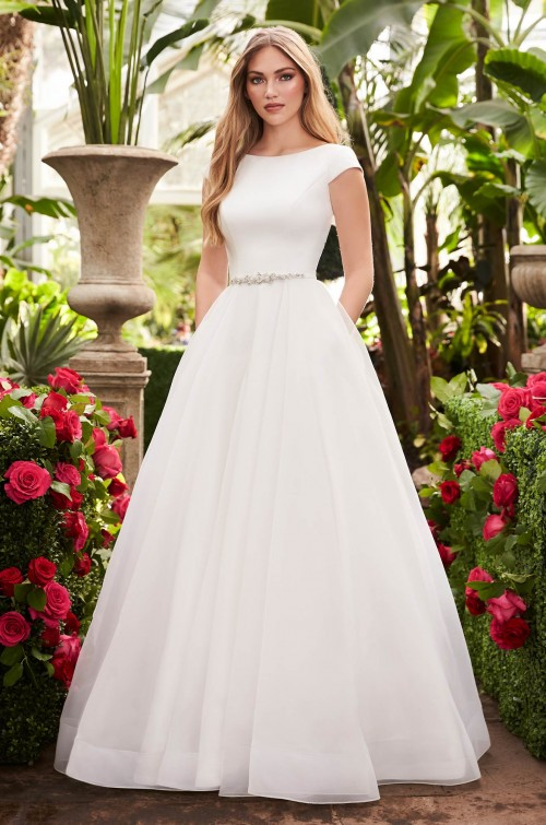 Cap Sleeve Ball Gown Wedding Dress by Mikaella - Image 1