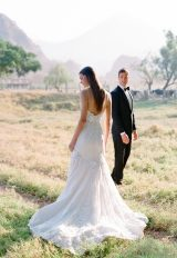Lace Fit and Flare Spaghetti Strap Wedding Dress by Pnina Tornai - Image 2