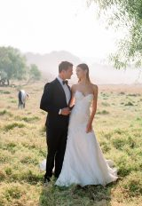 Lace Fit and Flare Spaghetti Strap Wedding Dress by Pnina Tornai - Image 1