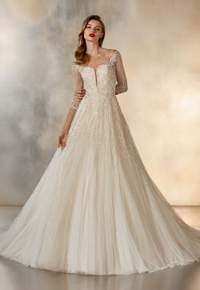 3/4 Sleeve Beaded Illusion Ball Gown by Pronovias
