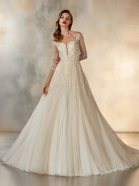 3/4 Sleeve Beaded Illusion Ball Gown by Pronovias - Image 1