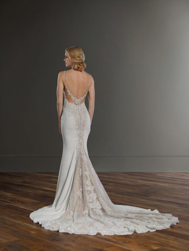 Spaghetti Strap Sheath Lace Wedding Dress by Martina Liana - Image 2