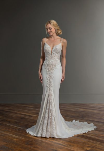 Spaghetti Strap Sheath Lace Wedding Dress by Martina Liana