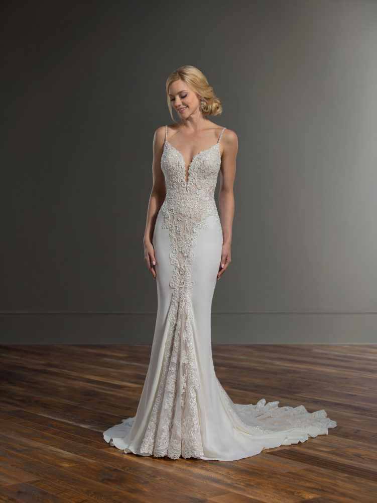 Spaghetti Strap Sheath Lace Wedding Dress by Martina Liana - Image 1