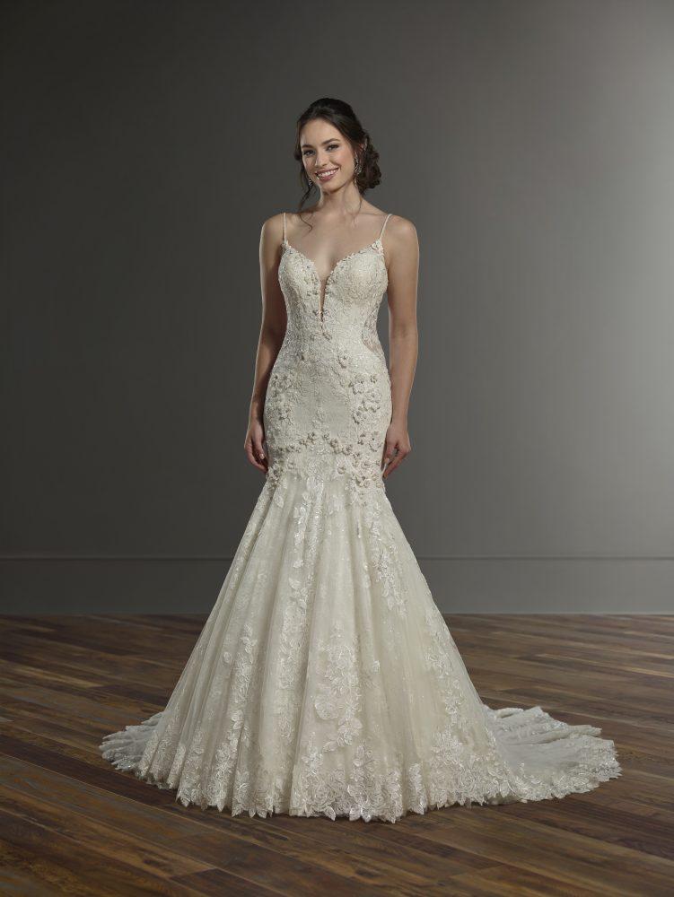 Spaghetti Strap Fitted Lace Wedding Dress by Martina Liana - Image 1