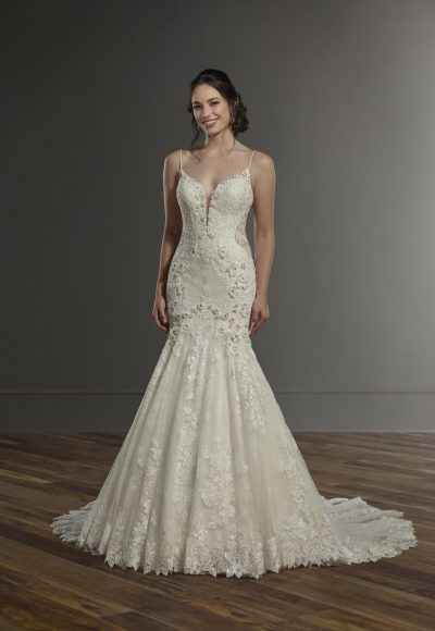 Spaghetti Strap Fitted Lace Wedding Dress by Martina Liana
