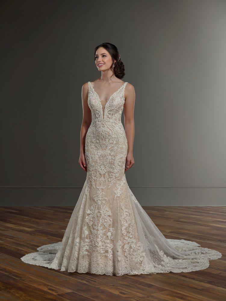 V-neck beaded lace wedding dress by Martina Liana - Image 1