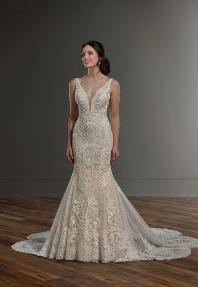 V-neck beaded lace wedding dress by Martina Liana