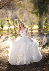 V-neck layered ball gown wedding dress by Martina Liana - Image 1