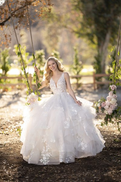 V,neck layered ball gown wedding dress