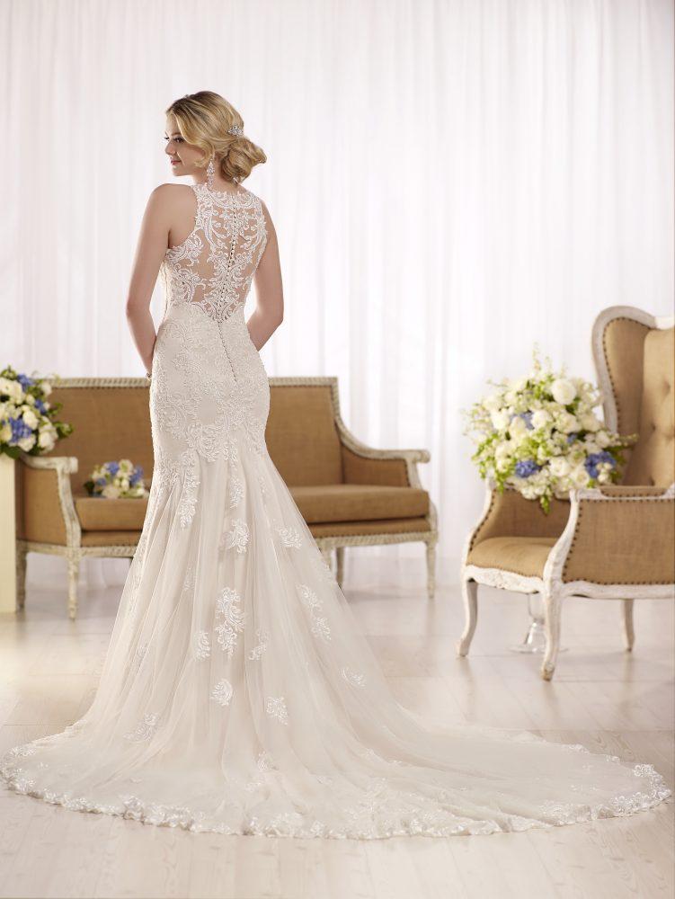 Halter illusion neckline lace wedding dress by Essense of Australia - Image 2