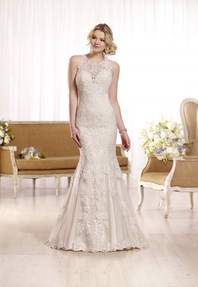 Sleeveless lace halter neckline wedding dress by Essense of Australia