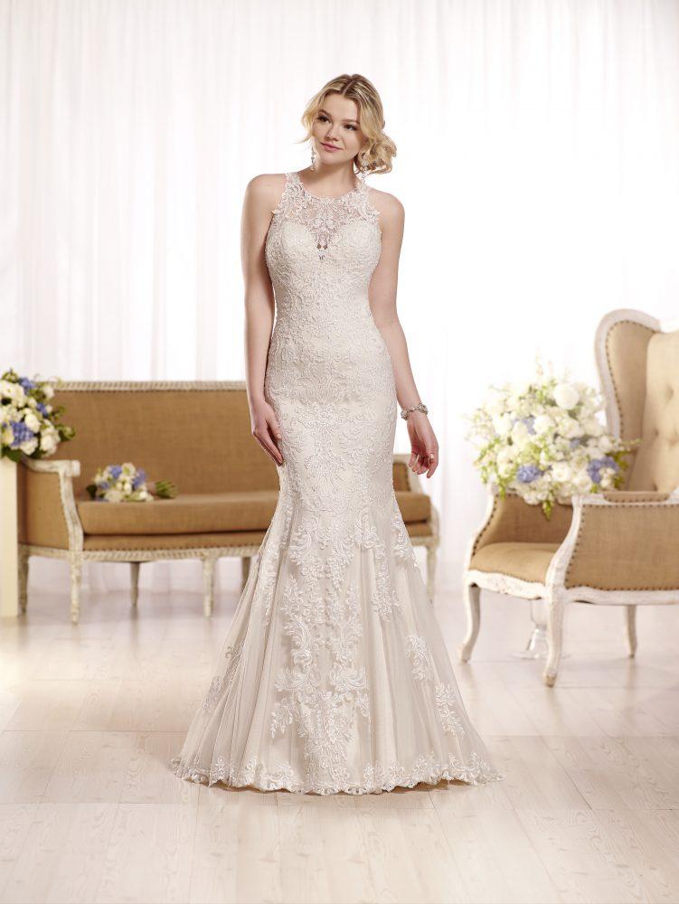Sleeveless lace halter neckline wedding dress by Essense of Australia - Image 1