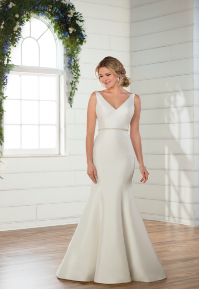 Sleeveless v-neckline satin fit and flare wedding dress with attached beaded belt by Essense of Australia