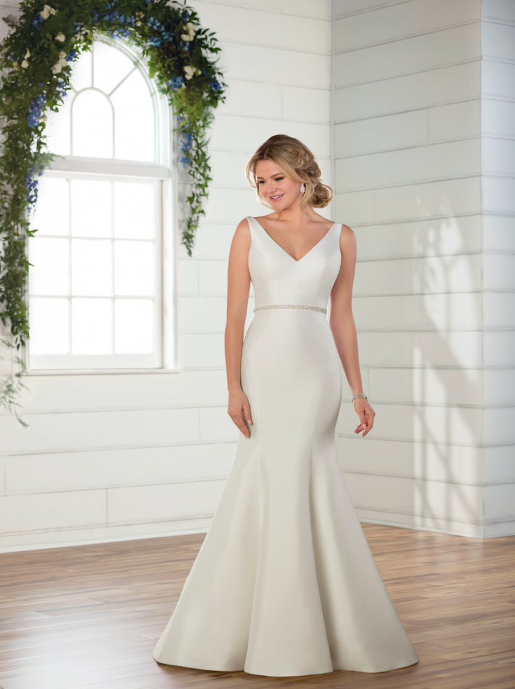 Sleeveless v-neckline satin fit and flare wedding dress with attached beaded belt by Essense of Australia - Image 1