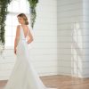 Sleeveless v-neckline satin fit and flare wedding dress with attached beaded belt by Essense of Australia - Image 2