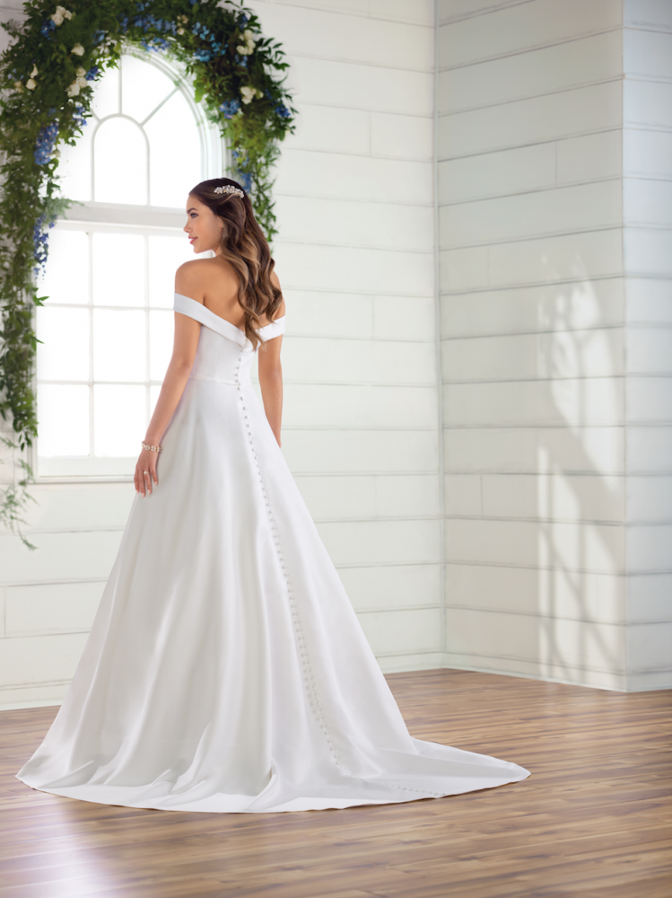 Simple satin off the shoulder ballgown by Essense of Australia - Image 2