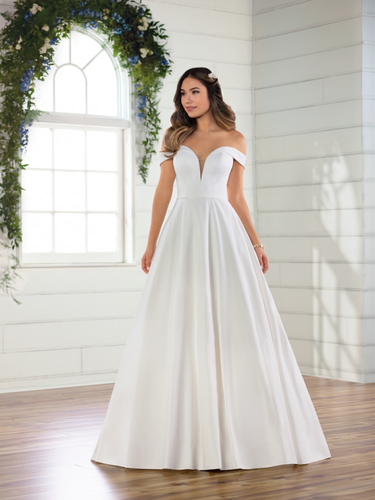 Simple satin off the shoulder ballgown by Essense of Australia - Image 1