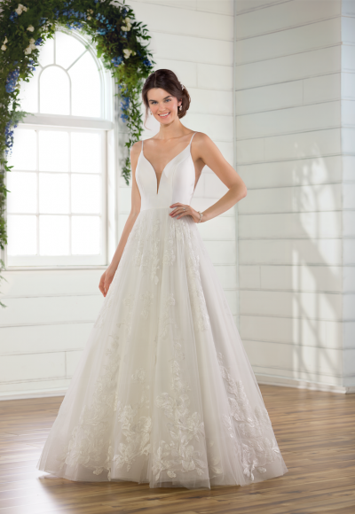 V-neck tulle ball gown wedding dress by Essense of Australia