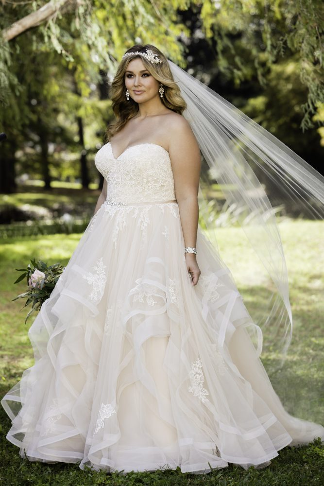 Pink Floral Lace Ball Gown Wedding Dress by Stella York - Image 1