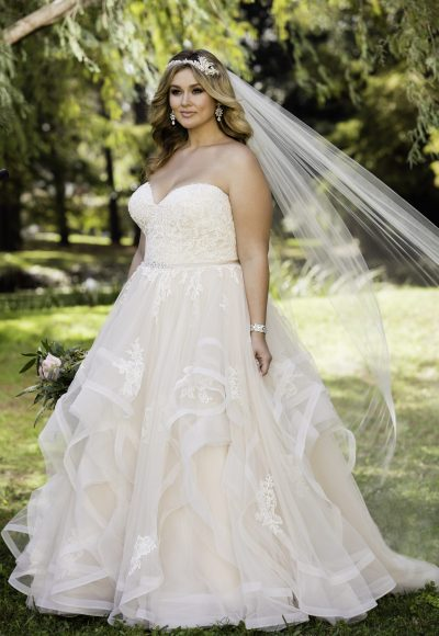 Pink Floral Lace Ball Gown Wedding Dress by Stella York