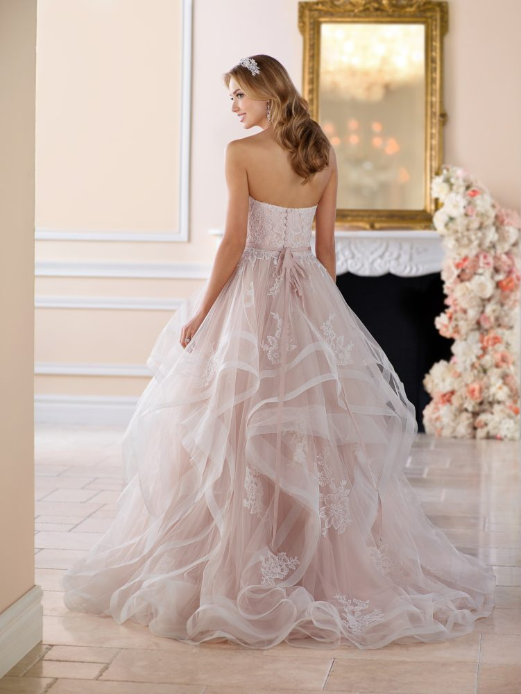 Pink Floral Lace Ball Gown Wedding Dress