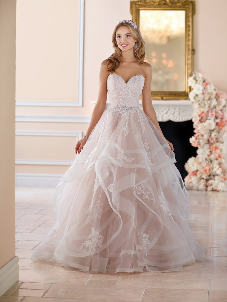 Pink Floral Lace Ball Gown Wedding Dress by Stella York - Image 2