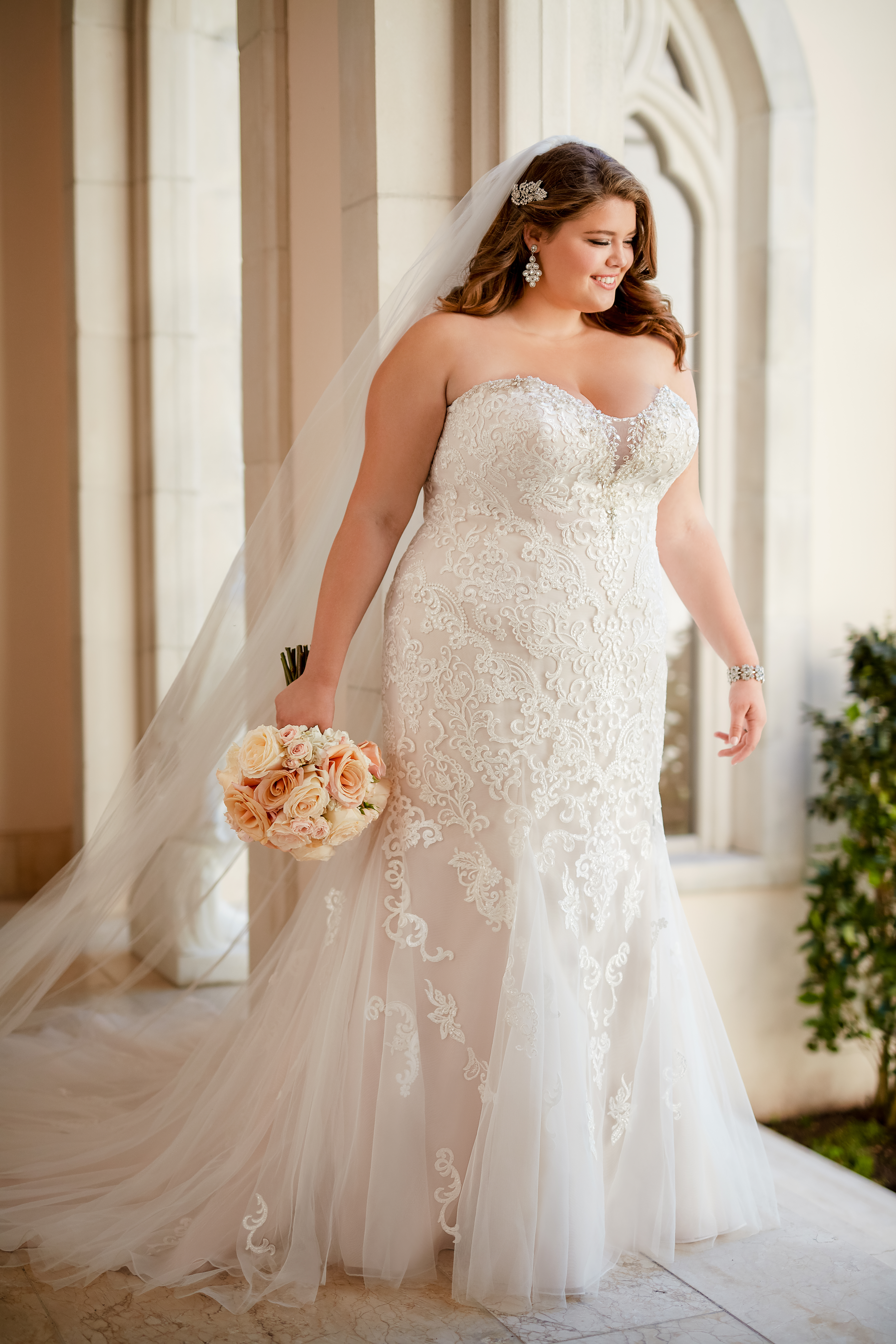 Blush Fit And Flare Lace Wedding Dress