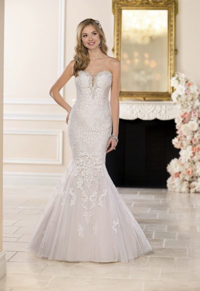 Blush Fit and Flare Lace Wedding Dress by Stella York