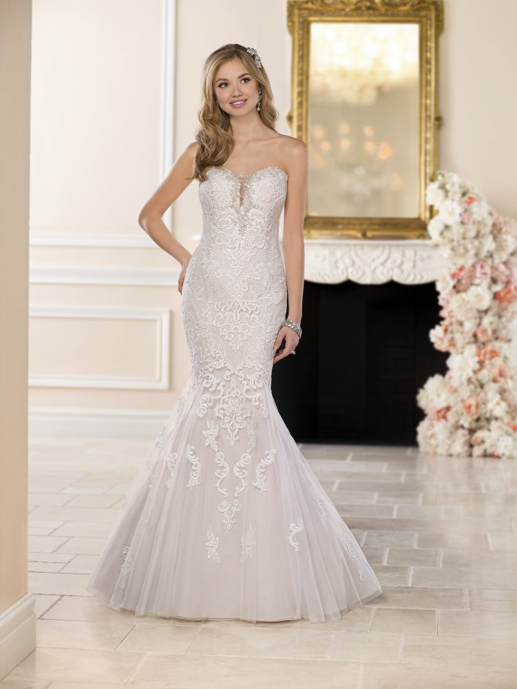 Blush Fit and Flare Lace Wedding Dress by Stella York - Image 2