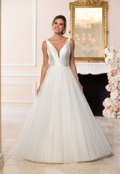 V-neck Tulle Ball Gown Wedding Dress by Stella York