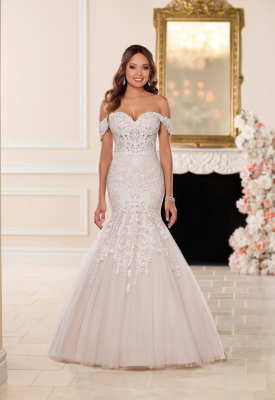 Off the Shoulder Blush Fit and Flare Wedding Dress by Stella York
