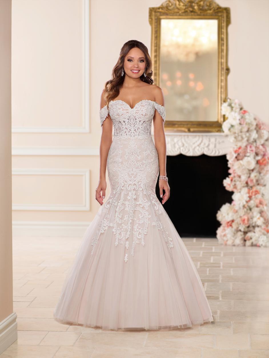 Off The Shoulder Blush Fit And Flare Wedding Dress Kleinfeld Bridal