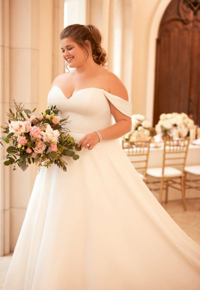 Simple Off the Shoulder Satin Ball Gown by Stella York