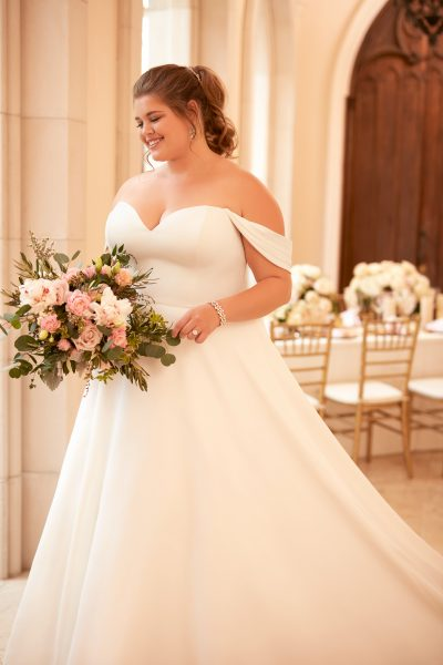 Simple Off The Shoulder Satin Ball Gown Kleinfeld Bridal