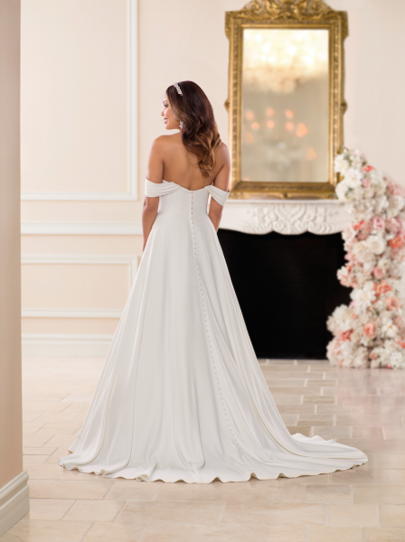 Simple Off the Shoulder Satin Ball Gown by Stella York - Image 2