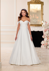 Simple Off the Shoulder Satin Ball Gown by Stella York - Image 1