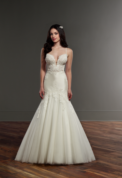 Spaghetti Strap Lace Mermaid Wedding Dress by Martina Liana