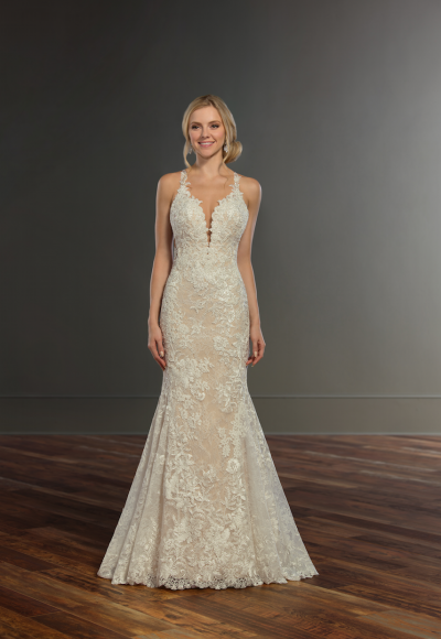 Beaded lace fit and flare wedding dress by Martina Liana
