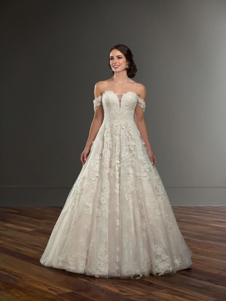 Off the Shoulder Ball Gown Wedding Dress by Martina Liana - Image 1