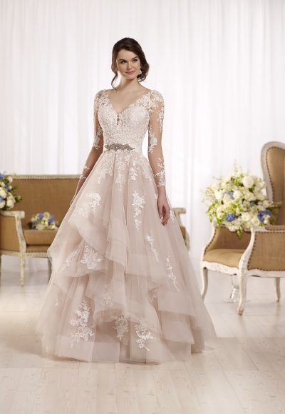 Long sleeve illusion v-neckline lace ball gown wedding dress with attached beaded belt by Essense of Australia