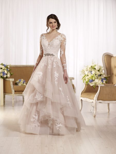Long sleeve illusion v-neckline lace ball gown wedding dress with attached beaded belt by Essense of Australia - Image 1