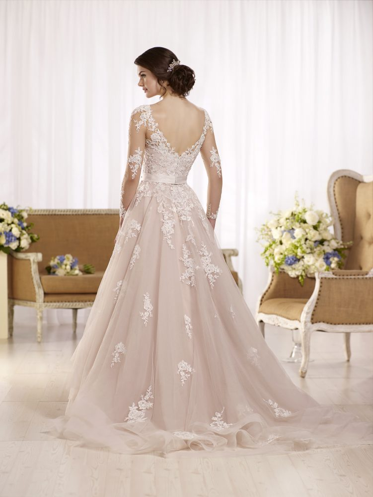 Long sleeve illusion v-neckline lace ball gown wedding dress with attached beaded belt by Essense of Australia - Image 3