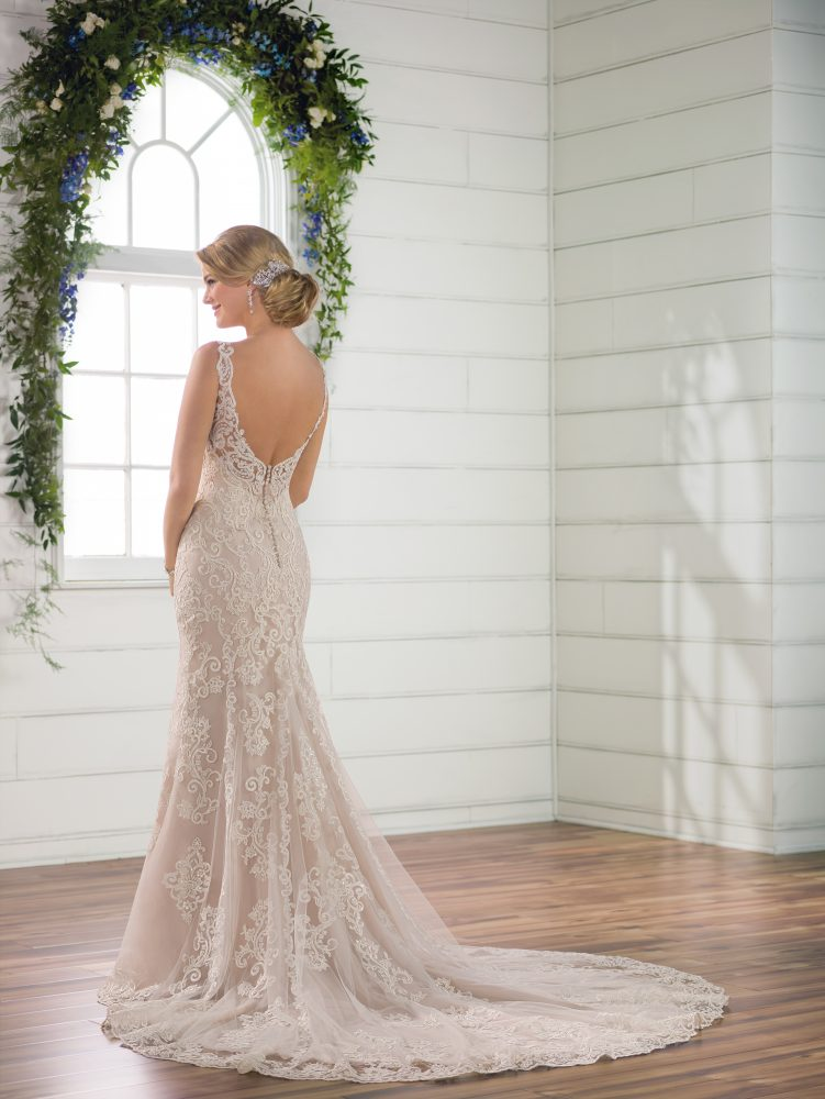 Sleeveless all over lace v-neckline fit and flare wedding dress by Essense of Australia - Image 2